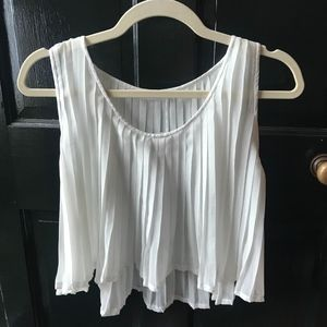 Tops - White Pleated Crop Top